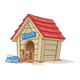 Doghouse with sleeping dog and food bowl