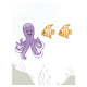 Underwater Scene with a purple octopus and two orange fish