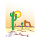 Desert Scene with cactus, sun, and rocks