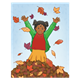 Fall Scene with a girl jumping in leaves