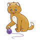 Tan Kitten batting purple ball of yarn