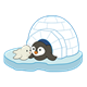 Igloo with baby seal and penguin
