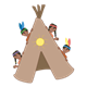 Tan Tepee with four children