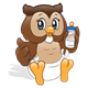 Baby Owl with a diaper and a bottle