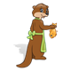 Brown Otter with a green apron and an orange fish