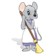 Sweeping Mouse with purple dress, white apron, and broom