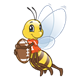 Football Bee with a red shirt