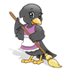 Sweeping Crow with a purple apron and a broom