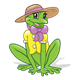 Green Frog with a shirt, hat, and bow