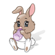 Baby Rabbit with a white diaper and a purple bottle