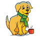 Winter Puppy with a scarf and a mug