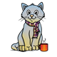Winter Cat with a scarf and a mug