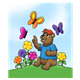 Brown Bear sitting on a hill with butterflies and flowers