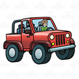 Boy Driving a Jeep