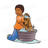 Boy Washing Dog