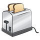 Silver Toaster with two pieces of toast