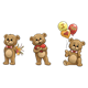 Three Bears with flowers, heart, and balloons