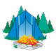 Blue Tent in Forest with campfire