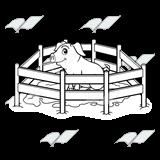 Abeka | Clip Art | Pig in Muddy Pen
