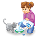 Girl Pouring Milk for a gray kitten