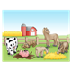 Farmyard Scene with a barn, cow, dog, pig, horse, goat and donkey