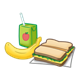 Lunch juice box, banana and sandwich