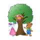 Tree with Button Bear, Amber Lamb, and Katie Kitten