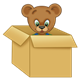 Button Bear in a cardboard box