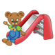 Button Bear sliding down a red slide