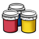 Three Paint Jars red, blue, yellow