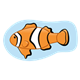 Clownfish with a light blue background