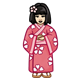 Girl in Pink Kimono with a pink flower in her hair