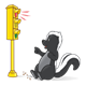 Red Traffic Light with skunk stopping