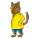 Chipmunk wearing a yellow raincoat and blue pants
