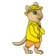 Chipmunk wearing a yellow raincoat and orange pants