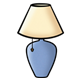 Blue Lamp with a cream-colored lampshade