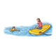 Swimming Scene with a mom on a raft and a boy swimming