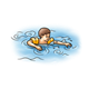 Swimming Boy with orange water wings