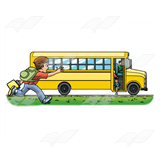Boy Running to Bus