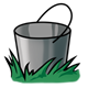 Silver Bucket in grass