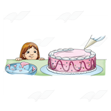 Girl Watching Cake