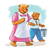 Mom and Bear 1 Color PNG