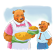 Bears with Pies with background