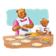 Bear Cutting Pie with background