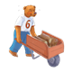 Bear Moving Wood in a wheelbarrow