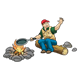 Camping Man cooking over a campfire