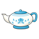 Teapot blue and white flower and leaf pattern