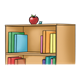 Bookcase with books and an apple
