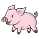 Standing Pink Pig with short legs