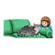 Girl Petting Cat on green couch